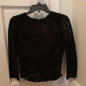 Lucky Brand Black Lace Zip Top